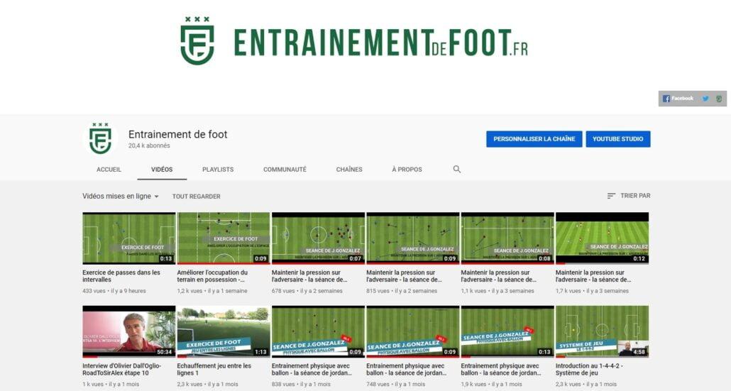 chaîne youtube entrainement de foot