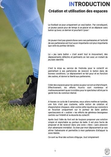 Création et utilisation des espaces : Cycle 5 école de foot