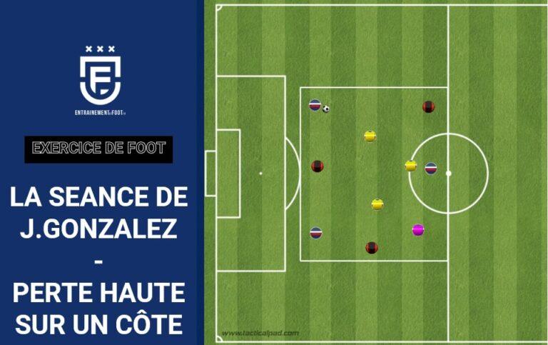Perte haute sur le côté - exercice de foot - La séance de J.Gonzalez